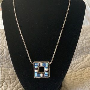 Brighton Cabana Silver Plated Blue/ White Necklace